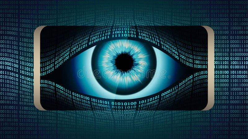 Το να όλος-δει μάτι του Μεγάλου Αδερφού στο smartphone σας, έννοια της μόνιμης σφαιρικής συγκεκαλυμμένης επιτήρησης που χρησιμοπο απεικόνιση αποθεμάτων