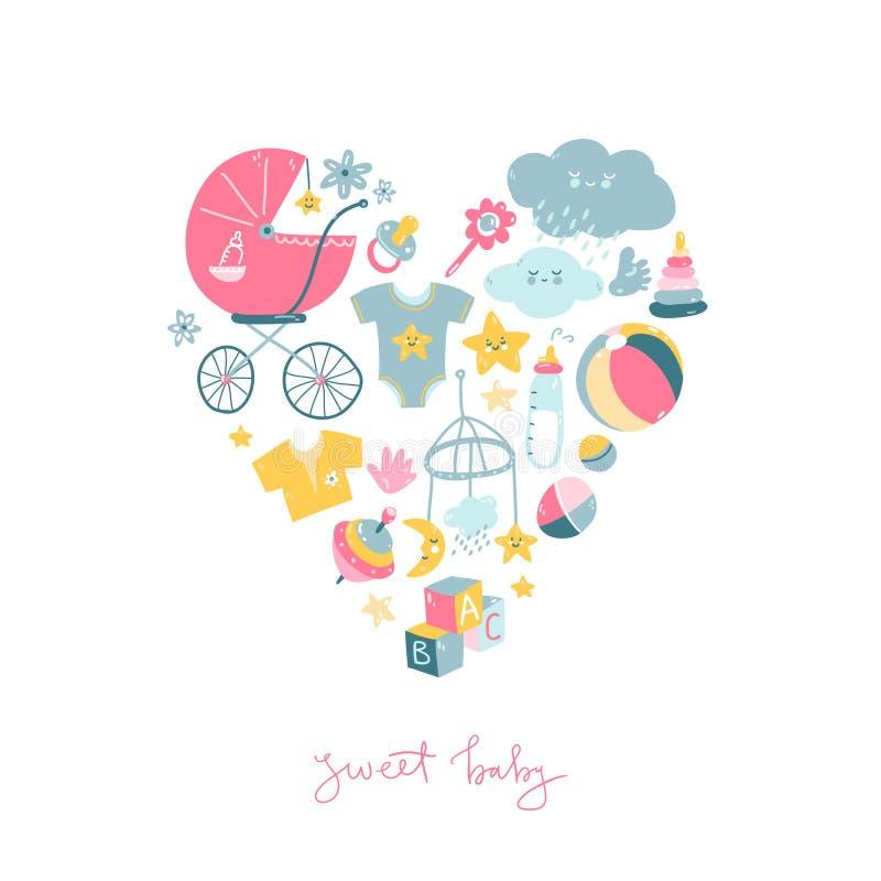 Το νεογέννητο νήπιο οι χαριτωμένες απεικονίσεις doodle στη μορφή καρδιών απεικόνιση αποθεμάτων
