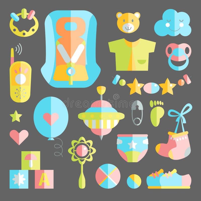 Το νεογέννητο νήπιο το χαριτωμένο επίπεδο σύνολο Προσοχή μωρών, που ταΐζει, clothin διανυσματική απεικόνιση