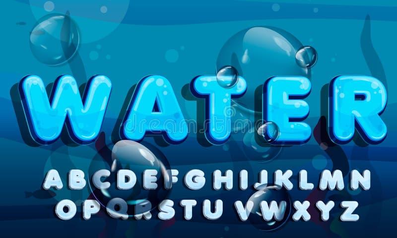 Το νερό κινούμενων σχεδίων ρίχνει την πηγή, αστείο μπλε αλφάβητο, διανυσματικές κωμικές επιστολές και drobs διανυσματική απεικόνιση