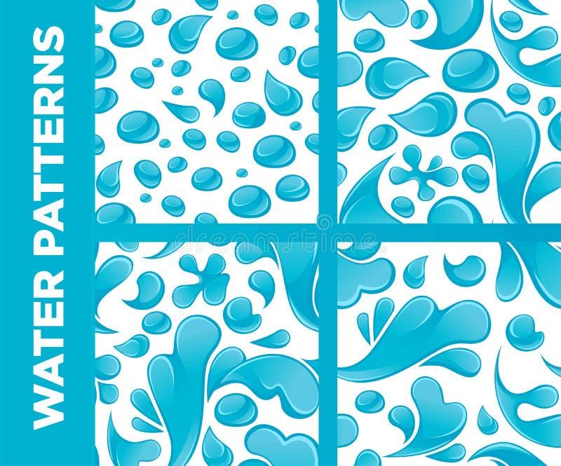 Το νερό μειώνονται και τα διανυσματικά άνευ ραφής σχέδια παφλασμών καθορισμένα ελεύθερη απεικόνιση δικαιώματος