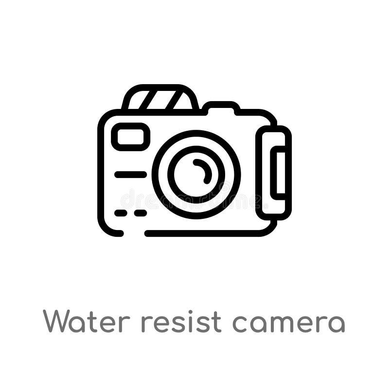 το νερό περιλήψεων αντιστέκεται στο διανυσματικό εικονίδιο καμερών απομονωμένη μαύρη απλή απεικόνιση στοιχείων γραμμών από τη ναυ ελεύθερη απεικόνιση δικαιώματος