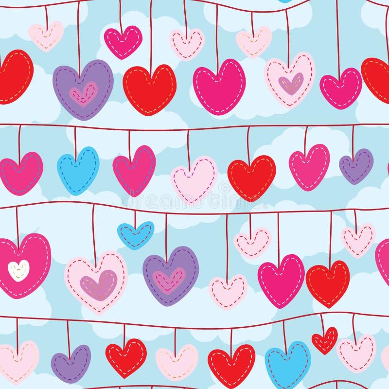 Το ντεκόρ αγάπης κρεμά το άνευ ραφής σχέδιο ελεύθερη απεικόνιση δικαιώματος