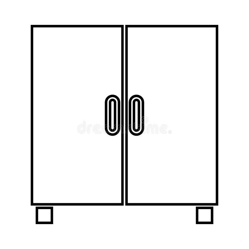 Το ντουλάπι ή το γραφείο αυτό είναι μαύρο εικονίδιο απεικόνιση αποθεμάτων
