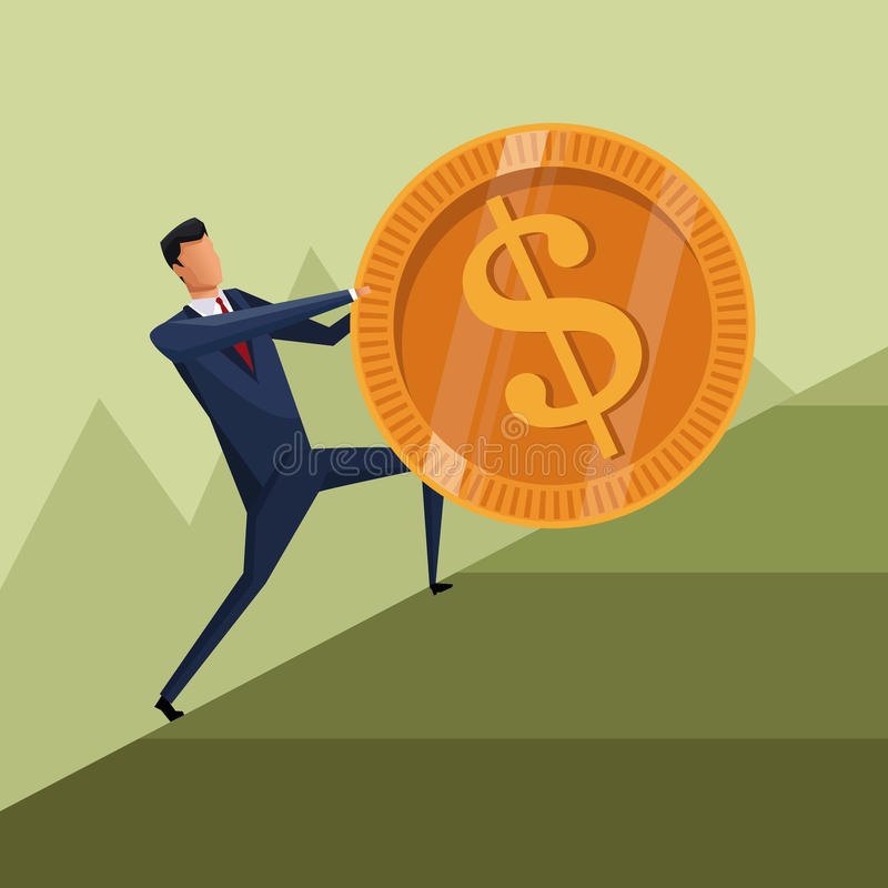 Το νόμισμα επιχειρησιακής αύξησης ατόμων αναρριχείται στην εργασία διανυσματική απεικόνιση