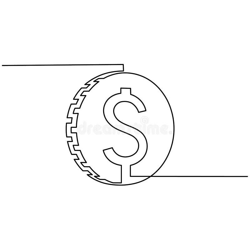 Το νόμισμα με το σημάδι δολαρίων επισύρεται την προσοχή από μια γραμμή σε ένα άσπρο υπόβαθρο Ενιαίο σχέδιο γραμμών Συνεχής γραμμή διανυσματική απεικόνιση
