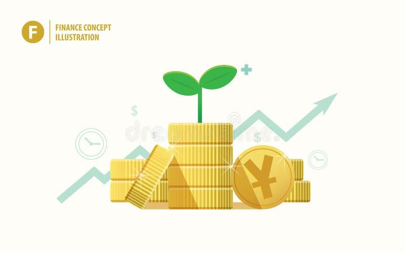 Το νόμισμα συσσωρεύει το yuan δενδρύλλιο νομίσματος και εγκαταστάσεων στην κορυφή με την ανάπτυξη του γ απεικόνιση αποθεμάτων