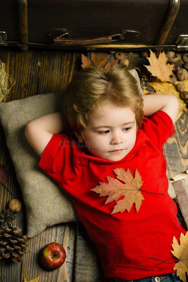 Το ξανθό μικρό παιδί που στηρίζεται με το φύλλο στο στομάχι βρίσκεται στο ξύλινο πάτωμα στα φύλλα φθινοπώρου Παιχνίδι παιδιών το  στοκ φωτογραφία με δικαίωμα ελεύθερης χρήσης