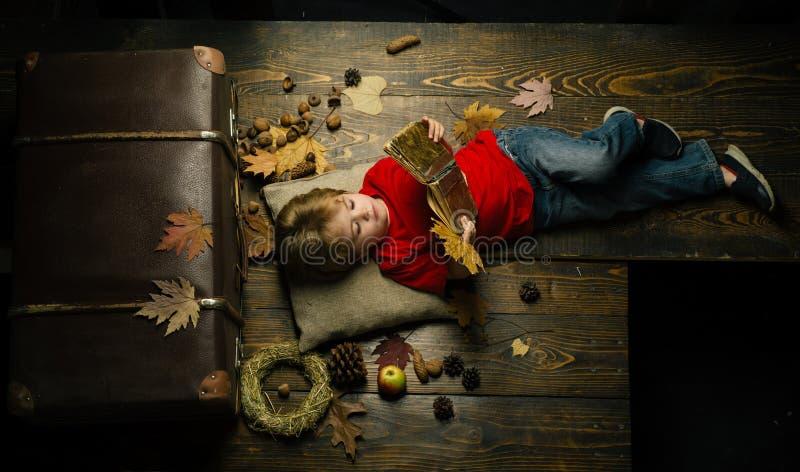 Το ξανθό μικρό παιδί που στηρίζεται με το φύλλο στο στομάχι βρίσκεται στο ξύλινο πάτωμα στα φύλλα φθινοπώρου Λίγο χαριτωμένο αγόρ στοκ εικόνα με δικαίωμα ελεύθερης χρήσης
