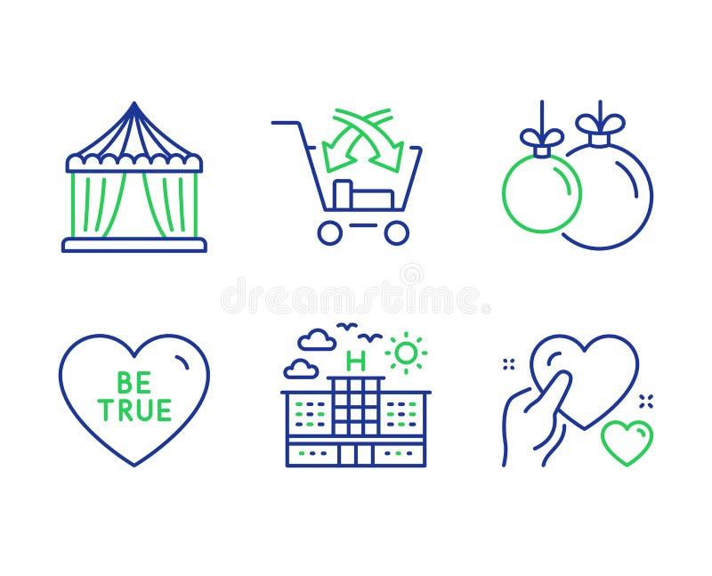 Το ξενοδοχείο, σταυρός πωλεί και είναι αληθινά εικονίδια καθορισμένα Σκηνή τσίρκων, σφαίρα Χριστουγέννων και σημάδια καρδιών λαβή απεικόνιση αποθεμάτων