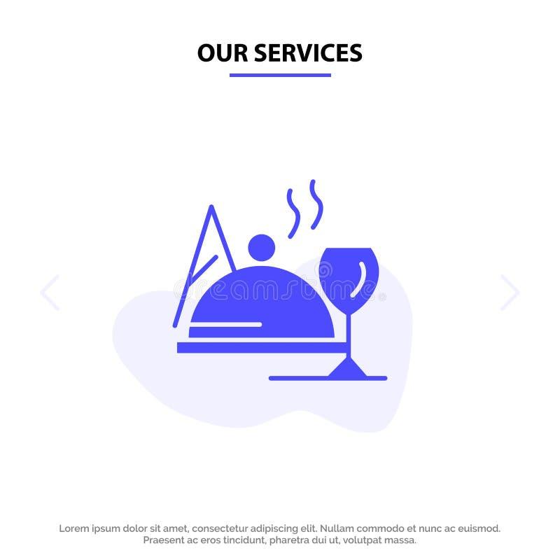 Το ξενοδοχείο υπηρεσιών μας, πιάτο, τρόφιμα, στερεό πρότυπο καρτών Ιστού εικονιδίων Glyph γυαλιού ελεύθερη απεικόνιση δικαιώματος