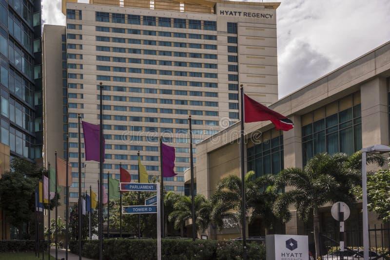 Το ξενοδοχείο Hyatt στο δρόμο Wrightson, λιμένας - - Ισπανία, Τρινιδάδ στοκ φωτογραφία με δικαίωμα ελεύθερης χρήσης