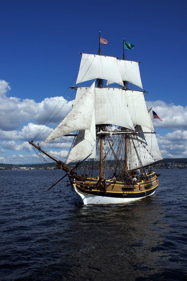 Το ξύλινο brig, κυρία Washington, πανιά στοκ εικόνα με δικαίωμα ελεύθερης χρήσης