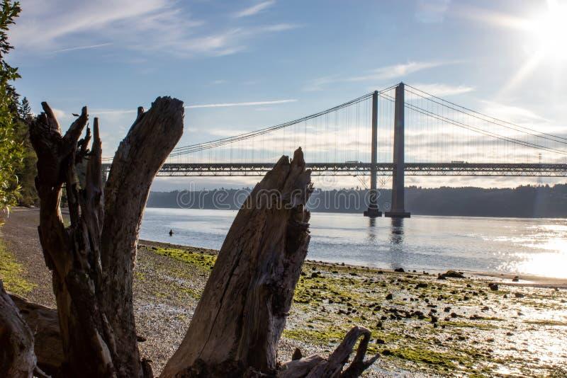 το ξύλο κλίσης κατά μήκος της παραλίας κοντά στο Τακόμα στενεύει τη γέφυρα στοκ εικόνες