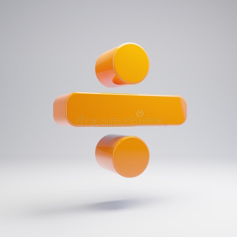 Το ογκομετρικό στιλπνό καυτό πορτοκάλι διαιρεί το εικονίδιο που απομονώνεται στο άσπρο υπόβαθρο απεικόνιση αποθεμάτων