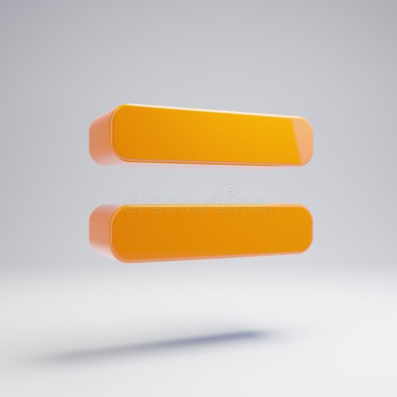 Το ογκομετρικό στιλπνό καυτό πορτοκάλι είναι ίσο με το εικονίδιο που απομονώνεται στο άσπρο υπόβαθρο διανυσματική απεικόνιση