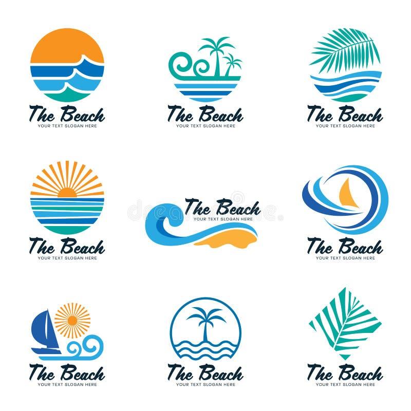 Το λογότυπο παραλιών με το κύμα θάλασσας, το φύλλο καρύδων, τη βάρκα και το διανυσματικό καθορισμένο σχέδιο ήλιων ελεύθερη απεικόνιση δικαιώματος