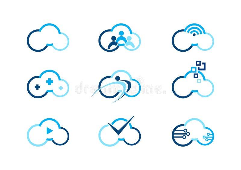 Το λογότυπο σύννεφων, σύννεφα που υπολογίζει τα λογότυπα έννοιας, συλλογές καλύπτει συμβόλων διανυσματικό σχέδιο απεικόνισης busi διανυσματική απεικόνιση