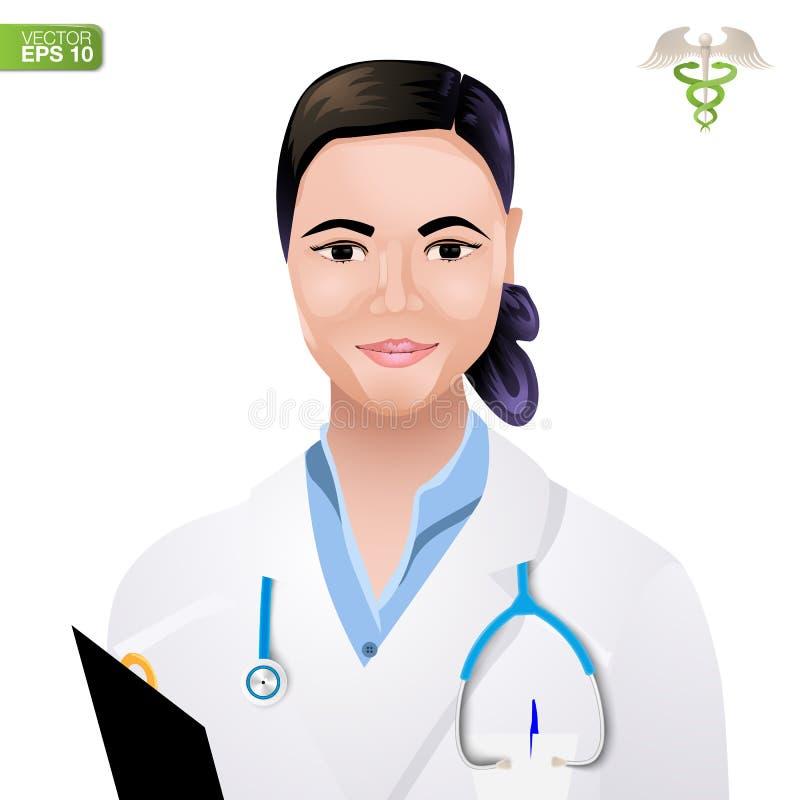 Το λογότυπο της ημέρας παγκόσμιας υγείας με την εικόνα ενός γιατρού γυναικών απεικόνιση αποθεμάτων