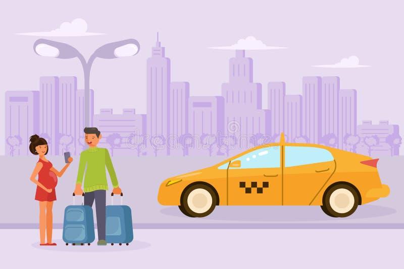 Το οικογενειακό ζεύγος διατάζει ένα ταξί διανυσματική απεικόνιση