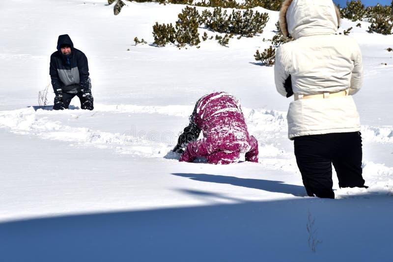 Το οικογενειακό παιχνίδι πέφτει στο χιόνι στα βουνά στοκ εικόνα