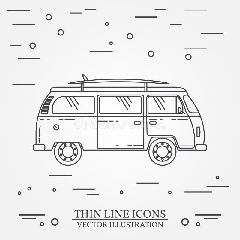 Το οικογενειακό τροχόσπιτο λεωφορείων ταξιδιού με τον πίνακα κυματωγών λεπταίνει τη γραμμή διανυσματική απεικόνιση