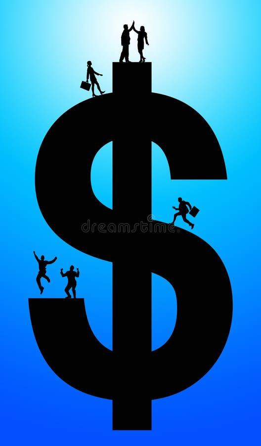 το οικονομικό κορίτσι δολαρίων κρατά την επιτυχία ευχαρίστησης πακέτων ελεύθερη απεικόνιση δικαιώματος