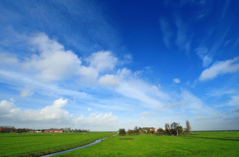 το ολλανδικό τοπίο χωρών χ στοκ φωτογραφία
