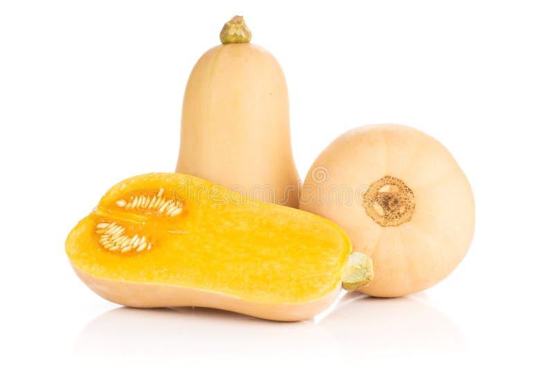 Το ομαλό αχλάδι διαμόρφωσε την πορτοκαλιά κολοκύνθη butternut waltham που απομονώθηκε στο λευκό στοκ εικόνες