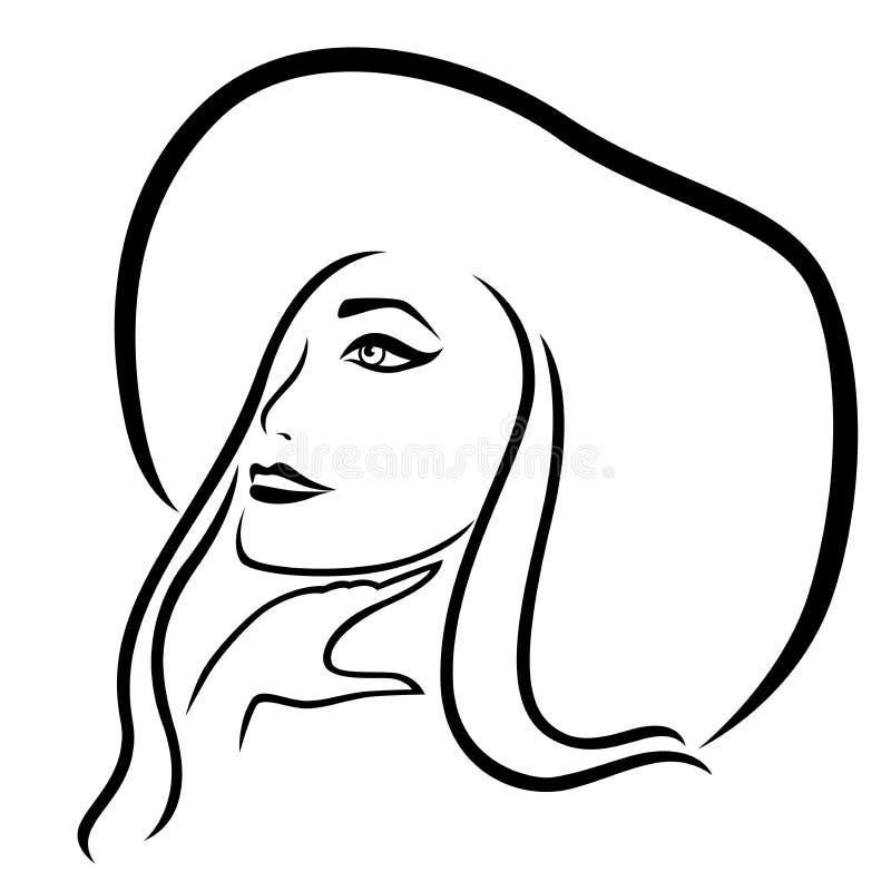 Το ονειροπόλο κορίτσι κάουμποϋ ευρύς-το καπέλο απεικόνιση αποθεμάτων