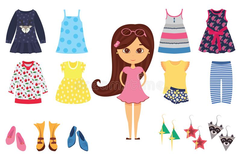 Το οριζόντια απομονωμένο εικονίδιο μόδας κοριτσάκι έθεσε με το μοντέρνο μικρό κορίτσι και τα διαφορετικά ενδύματά του διανυσματική απεικόνιση