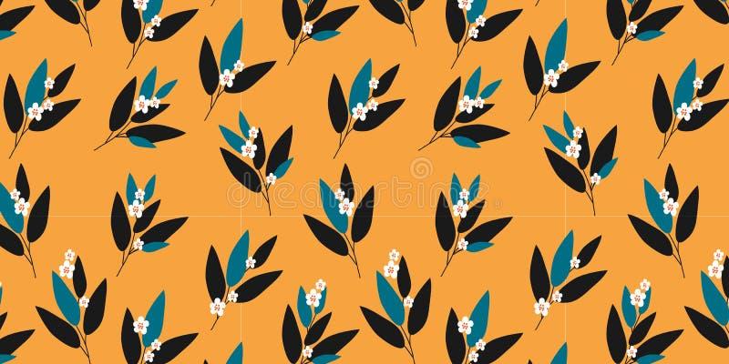 Το οριζόντιο άνευ ραφής σχέδιο με το χαριτωμένο doodle ανθίζει και φεύγει στο πορτοκαλί υπόβαθρο, διάνυσμα διανυσματική απεικόνιση