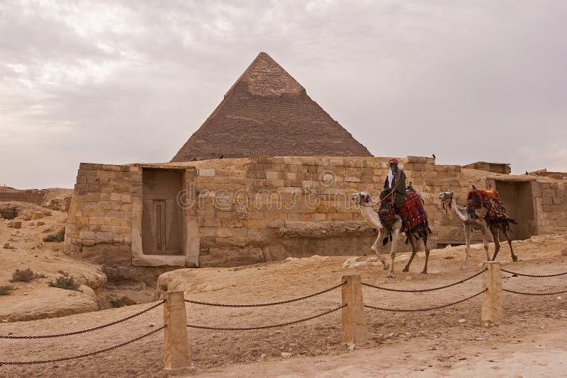 Το οροπέδιο giza στην έρημο Σαχάρας Μεγάλες πυραμίδες στοκ εικόνα