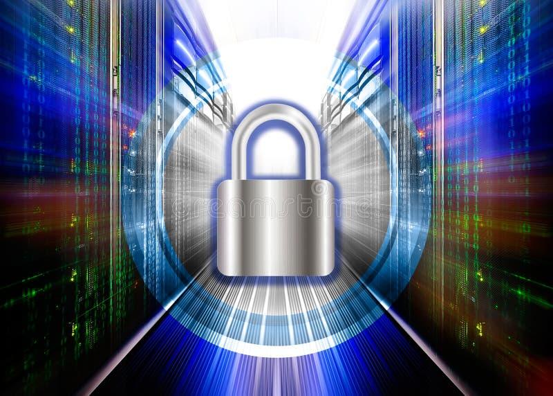 Το λουκέτο προστατεύει supercomputing το κέντρο δεδομένων Η έννοια της προστασίας, ασφάλεια, πρόσβαση στοιχείων ελεύθερη απεικόνιση δικαιώματος