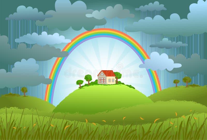 Το ουράνιο τόξο προστατεύει το μικρό σπίτι απεικόνιση αποθεμάτων