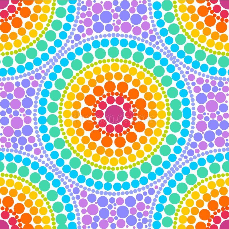 Το ουράνιο τόξο χρωματίζει τους ομόκεντρους κύκλους στο διανυσματικό άνευ ραφής σχέδιο ύφους τέχνης σημείων διανυσματική απεικόνιση