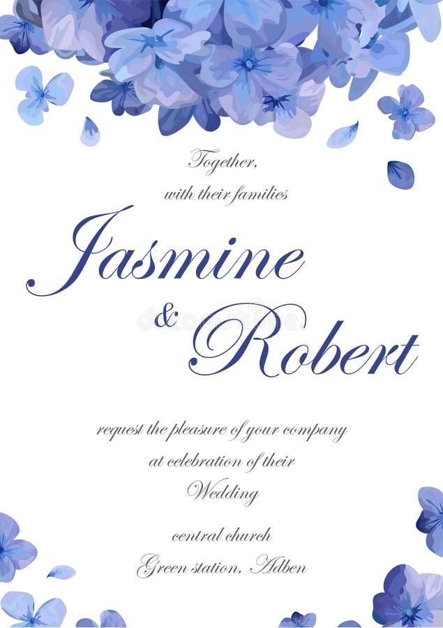 Το λουλούδι γαμήλιας πρόσκλησης προσκαλεί το σχέδιο καρτών με το μπλε πορφυρό GA ελεύθερη απεικόνιση δικαιώματος
