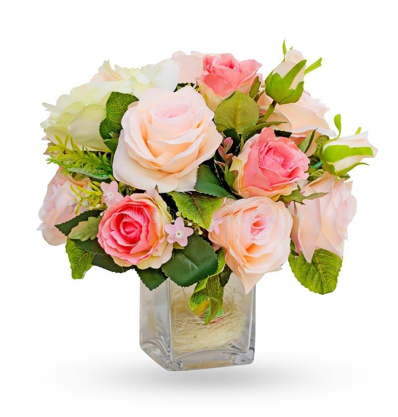 Το λουλούδι στο βάζο απομόνωσε το άσπρο υπόβαθρο στοκ εικόνες