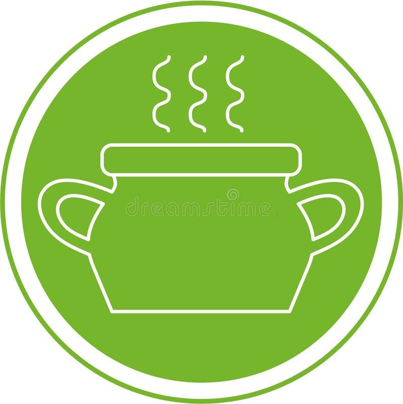 Το δοχείο της σούπας στον πράσινο κύκλο, απομονωμένη εικόνα ελεύθερη απεικόνιση δικαιώματος