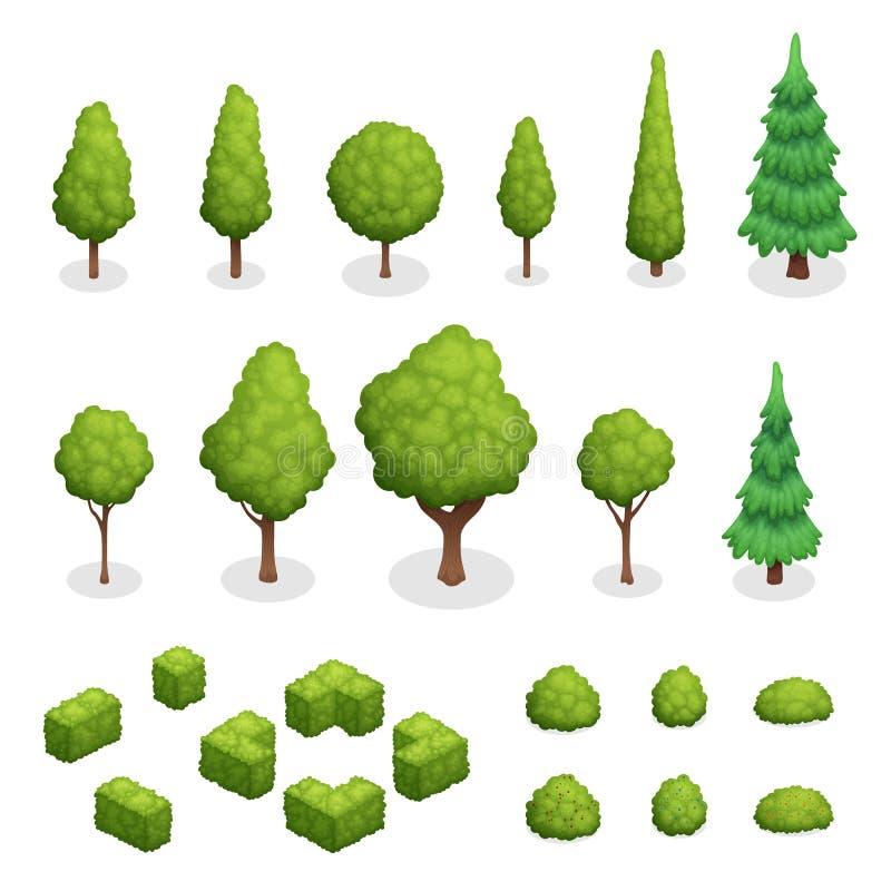 Το πάρκο φυτεύει το Isometric σύνολο απεικόνιση αποθεμάτων
