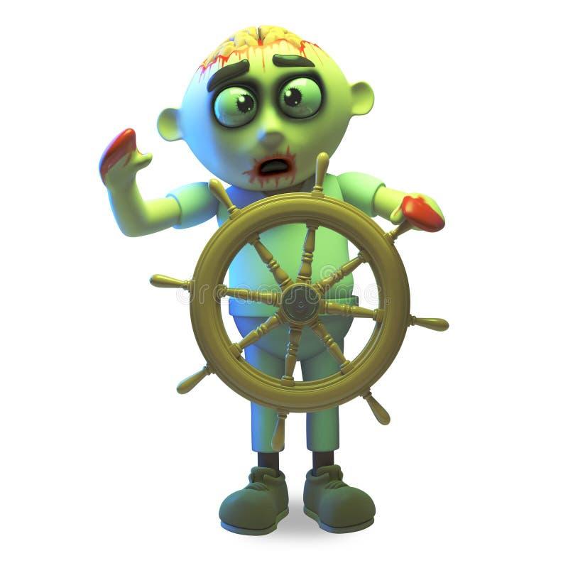 Το πάσχων από ναυτία τέρας undead zombie οδηγεί το σκάφος του στα πιό ήρεμα νερά, τρισδιάστατη απεικόνιση ελεύθερη απεικόνιση δικαιώματος
