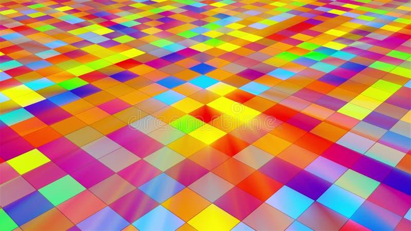Το πάτωμα Disco με τα φωτεινά τετράγωνα, τρισδιάστατα δίνει την αφαίρεση, παραγμένο υπολογιστής σκηνικό για τη νυχτερινή ζωή δημι απεικόνιση αποθεμάτων