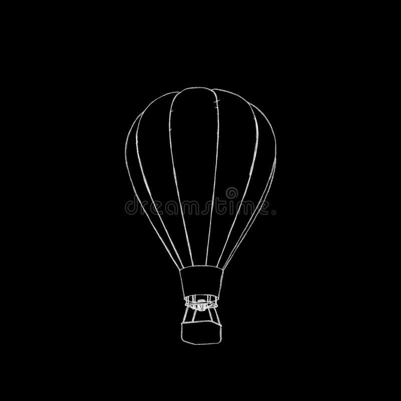 το πέταγμα τσίρκων μπαλονιών αέρα bealton καυτό εμφανίζει va Απομονωμένος στη μαύρη ανασκόπηση Illustrati σκίτσων ελεύθερη απεικόνιση δικαιώματος