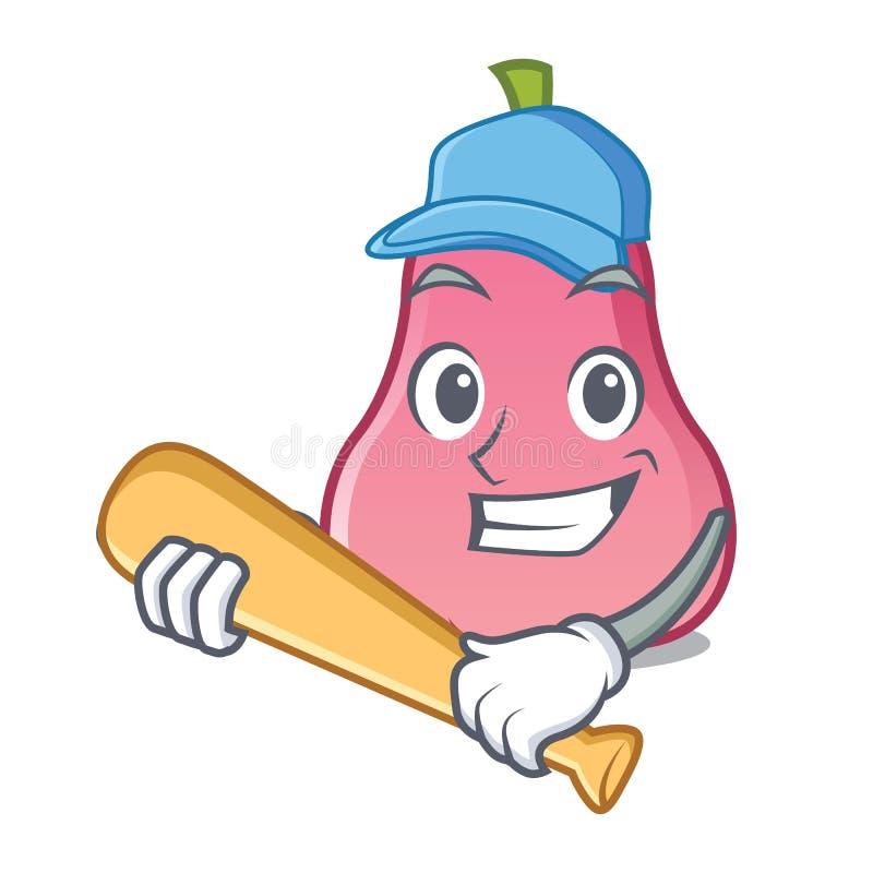 Το παίζοντας μπέιζ-μπώλ αυξήθηκε κινούμενα σχέδια χαρακτήρα μήλων διανυσματική απεικόνιση