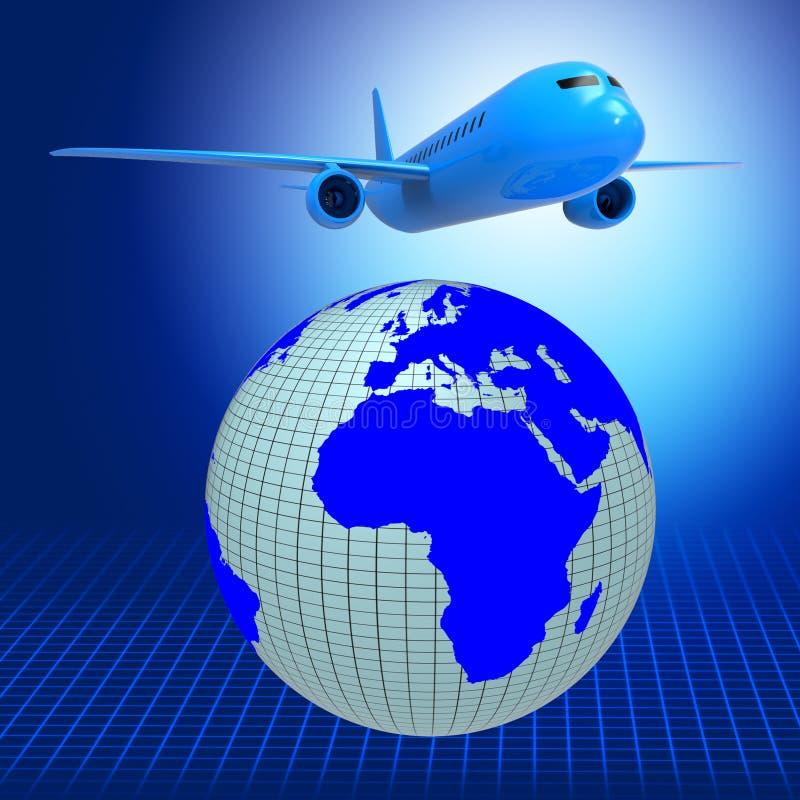 Το παγκόσμιο αεροπλάνο αντιπροσωπεύει τον οδηγό και τον αέρα ταξιδιού ελεύθερη απεικόνιση δικαιώματος