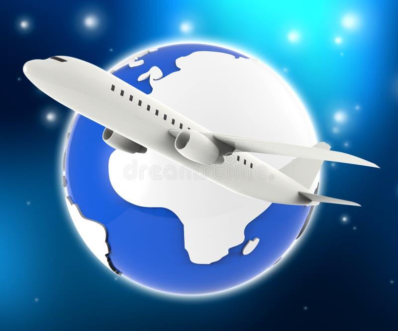 Το παγκόσμιο αεροπλάνο αντιπροσωπεύει τον οδηγό και τον αέρα ταξιδιού διανυσματική απεικόνιση