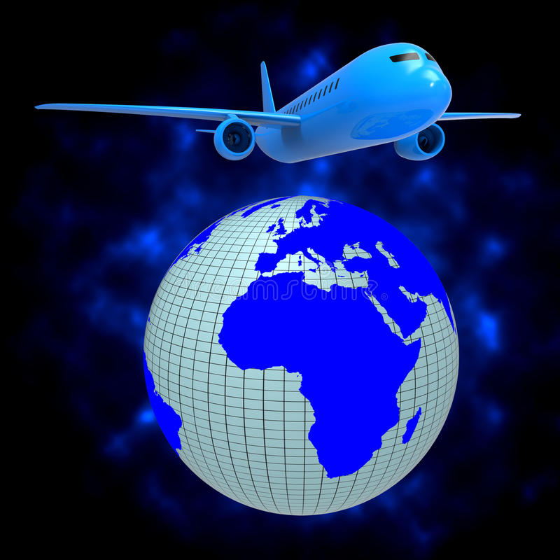 Το παγκόσμιο αεροπλάνο παρουσιάζει τον οδηγό και αέρα ταξιδιού διανυσματική απεικόνιση