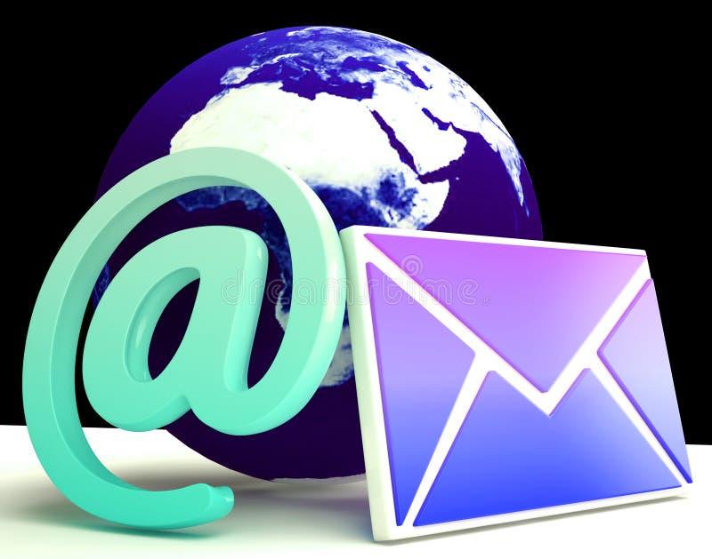 Το παγκόσμιο ηλεκτρονικό ταχυδρομείο παρουσιάζει σφαιρική θέση αλληλογραφίας on-line διανυσματική απεικόνιση