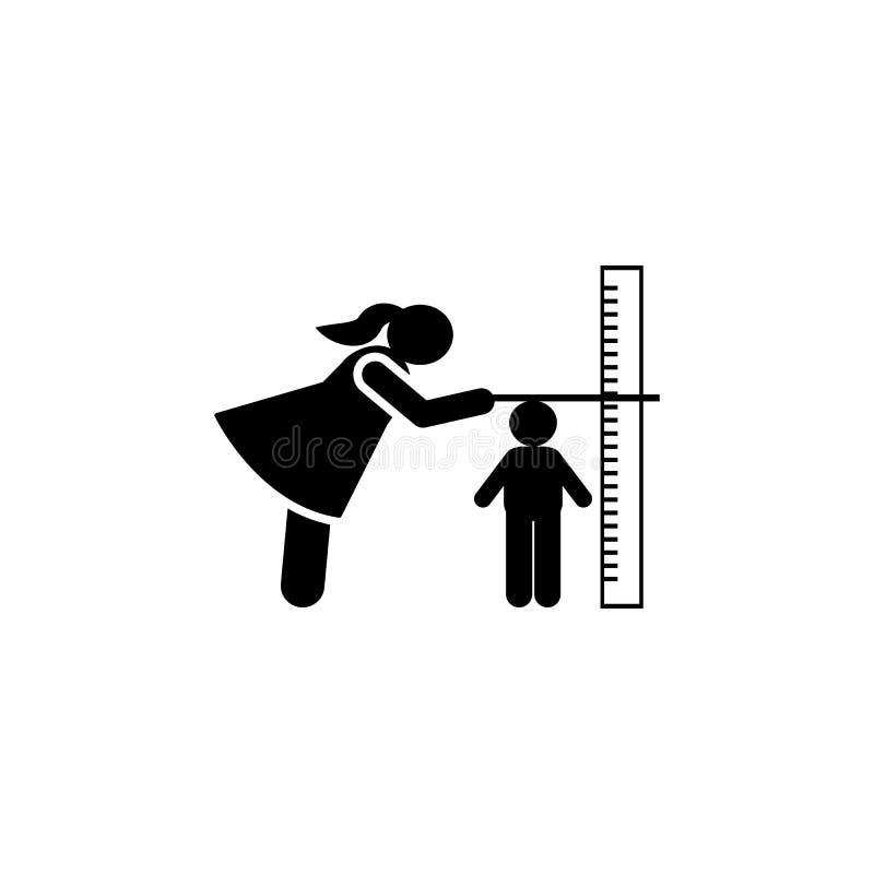 Το παιδί, αυξάνεται, ύψος, εικονίδιο μέτρου r r r διανυσματική απεικόνιση