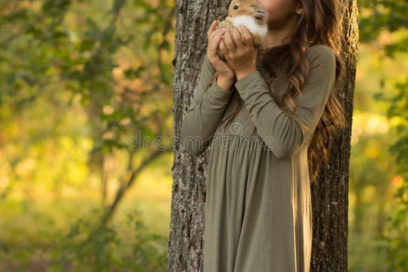 το παιδί κρατά το μικρό κουνέλι ένα κορίτσι με την καφετιά τρίχα κρατά ένα μικρό καφέ με το άσπρο κουνέλι στα χέρια παιδιών ` s σ στοκ εικόνα με δικαίωμα ελεύθερης χρήσης
